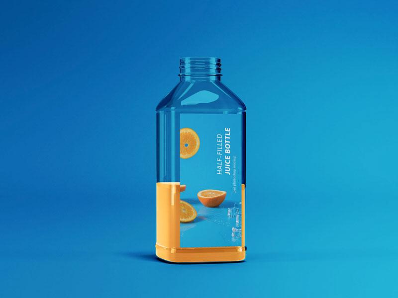 Half Filled Juice Bottle Mockup