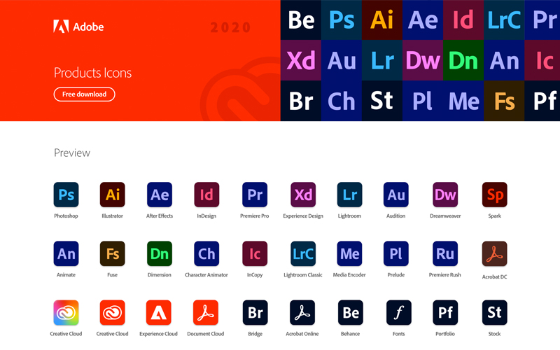 Adobe Products Icons 2020