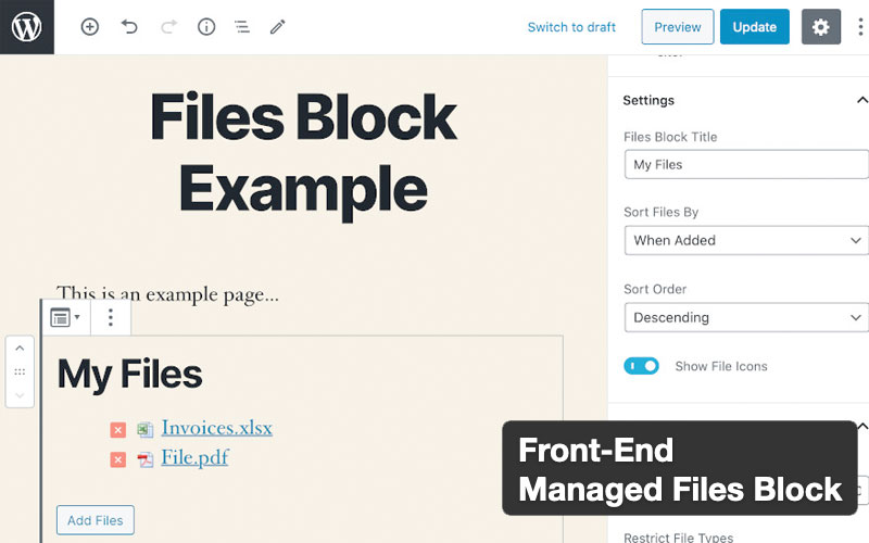 Front End Managed Files Block