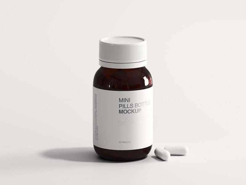 Mini Pills Bottle Mockup