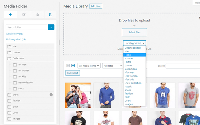 Live WordPress Media Library Folders