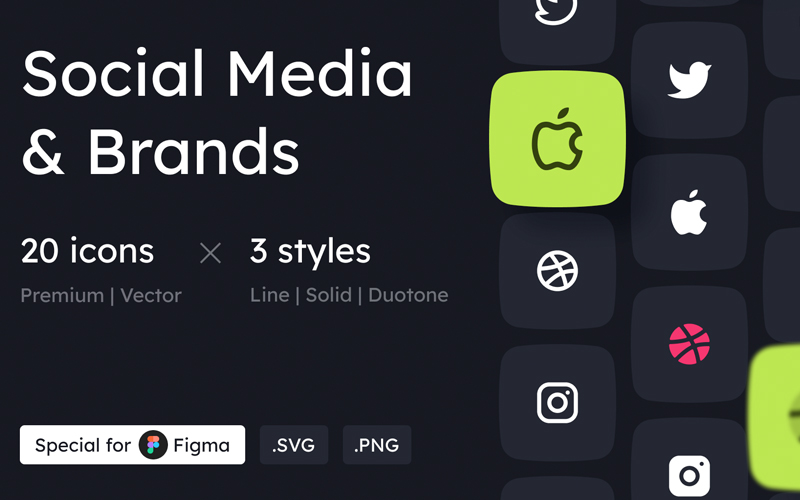 Social Media And Brands Icon Set