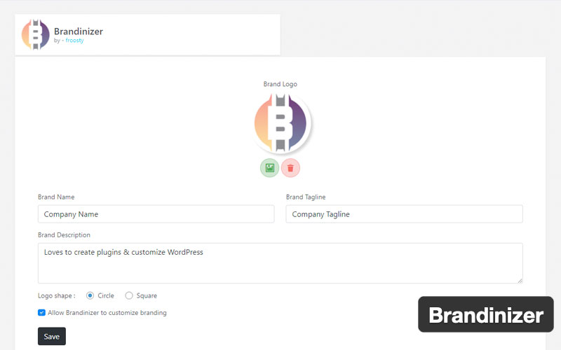 Brandinizer Custom Dashboard Branding