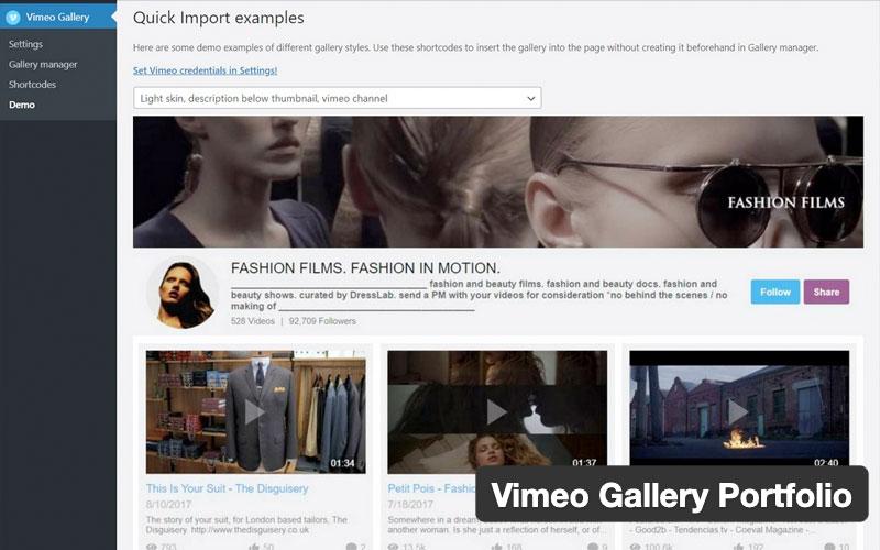 Vimeo Gallery Portfolio