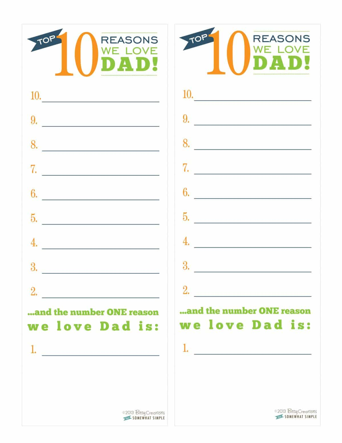 Free Father S Day Printable Top 10 Countdown List