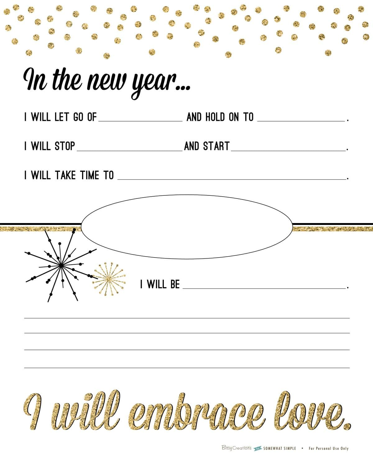 Free New Years Resolution Printable