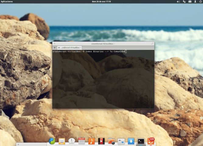 Elementary OS en su pantalla de inicio.
