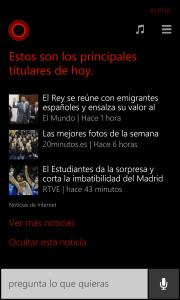 Cortana muestra las noticias