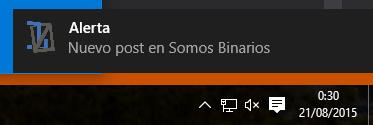 Nuestra notificación recién creada para Windows 10