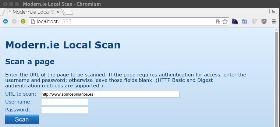 Usando Local Scan para analizar webs