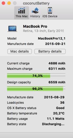 Estado de la batería de nuestro Mac