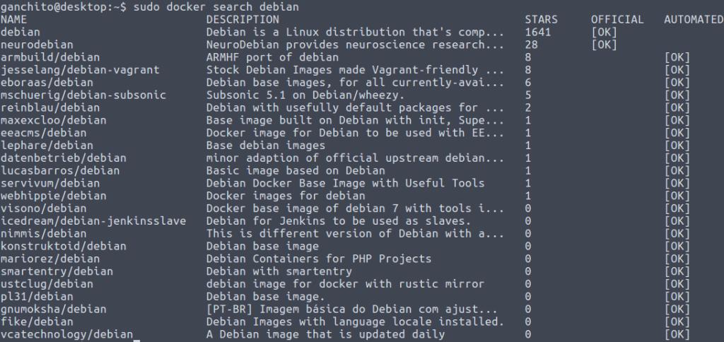 Buscar imágenes de Debian en Docker