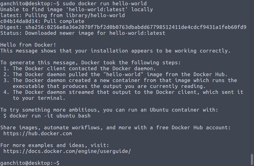 Docker instalado correctamente