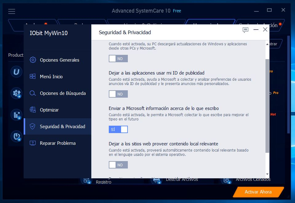Advanced SystemCare nos muestra el posible keylogger