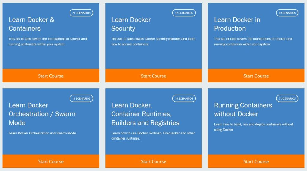 cursos de docker disponibles en katacoda