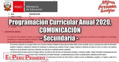 Programación Curricular 2020, Comunicación, para Secundaria, [DESCARGAR]