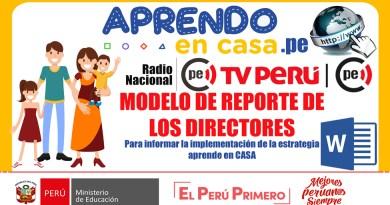 APRENDO EN CASA: Modelo de Reporte de los Directores la implementación de la estrategia [WORD]