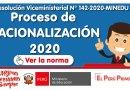 Proceso de  RACIONALIZACIÓN 2020 (R.VM. N° 142-2020-MINEDU)