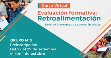 """Grupo 3 del curso virtual """"Evaluación formativa: Retroalimentación"""", las preinscripciones para el tercer grupo de participantes estarán abiertas del 22 al 29 de setiembre"""