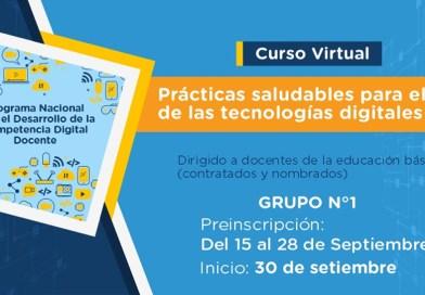 """Curso virtual """"Prácticas saludables para el uso de las tecnologías digitales"""", inscripciones del 14 al 25 de setiembre de 2020"""