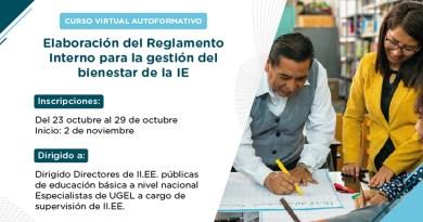 """Curso virtual autoformativo: """"Elaboración del Reglamento Interno para la gestión del bienestar de la IE"""", preinscripción de participantes del 23 al 29 de octubre de 2020"""