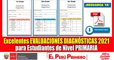 IMPORTANTE: Excelentes Evaluaciones Diagnósticas 2021 para Estudiantes de Nivel PRIMARIA de 1ro a 6to Grado [Descarga aquí][PDF]