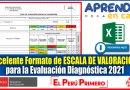 IMPORTANTE: Excelente Formato de ESCALA DE VALORACIÓN para la Evaluación Diagnóstica 2021 [Descarga aquí][Excel]
