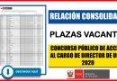 IMPORTANTE: RELACIÓN CONSOLIDADA de Plazas Vacantes para el Concurso Público de Acceso al Cargo de Director de UGEL 2020 [Conócelo aquí]