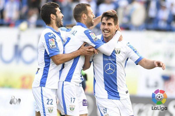 Gabriel celebra su gol contra el Llagostera