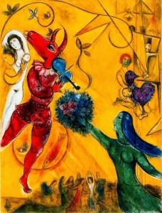 """La danza"""", otro ejemplo del romance de Chagall con la idea del amor."""