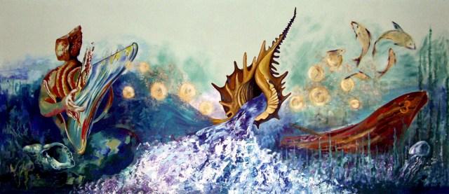 """""""O mar"""", mural de Alfonso Costa."""
