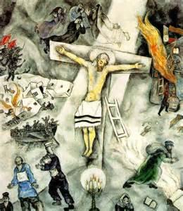 """""""La crucifixión blanca"""", de Marc Chagall, se interpreta como una metáfora que denuncia la Alemania nazi, el Régimen de Stalin y la persecución de los judíos."""