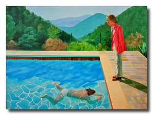 David Hockney desarrolló un estilo propio para tratar pictóricamente los reflejos sobre el agua. A mi me gusta pensar que utiliza la transparencia del aguo como metáfora del encuentro y la comprensión del otro.
