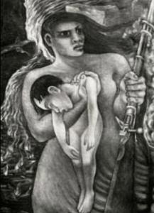 """Mujer de la guerra"""". Obra realizada en 1934 por Aurora Reyes, la primera muralista mexicana."""