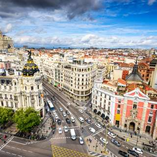Madrid, Spain cityscape above Gran Via shopping street. View from Circulo de Bellas Artes