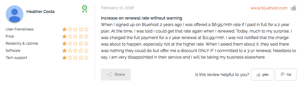 Bluehost review money complaints from Heather