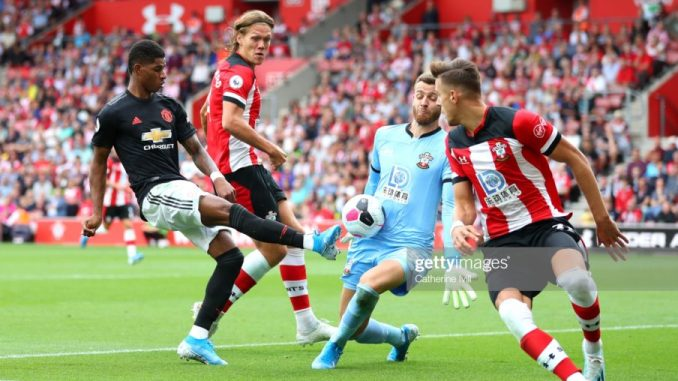 Man United share points with 10 men Southampton despite James' early goal.