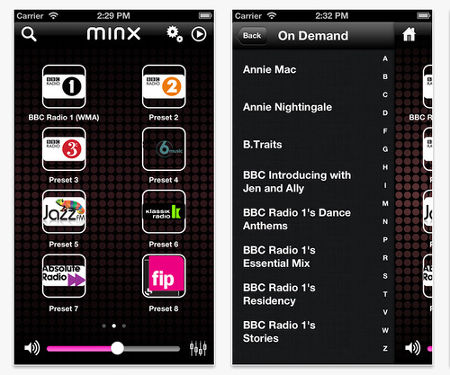 L'application iOS et Android des Minx 100 et 200