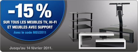 -15% sur tous les meubles TV, Hi-Fi et meubles avec support