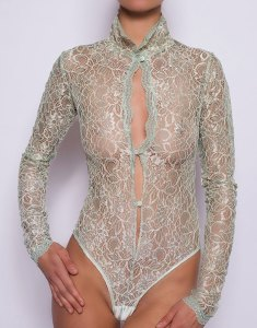 Olive Jade Long Sleeved Bodysuit (Thong) by Sonata London