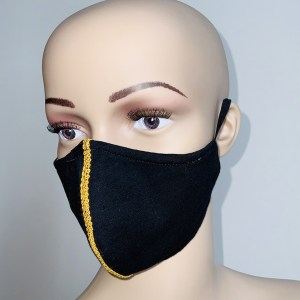 Black Cotton Mask with Gold Trim
