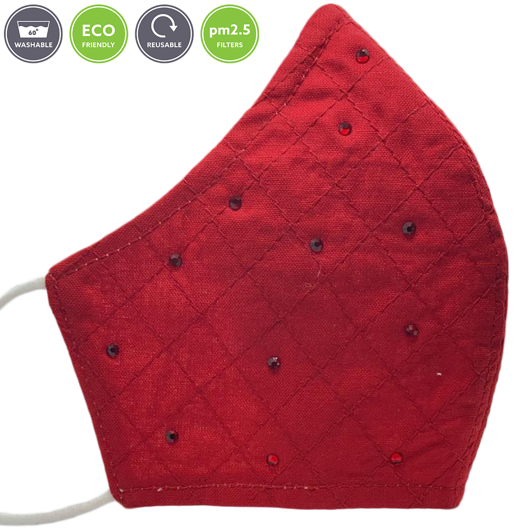 Sonata London Cotton Face Mask with Crystals - Red