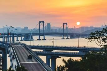 Sunset over the Xinghai bay bridge exp