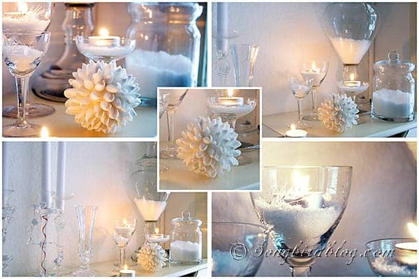 more than 25 inspirational ideas to decorate your mantel in every season white winter mantel decoration snow glass