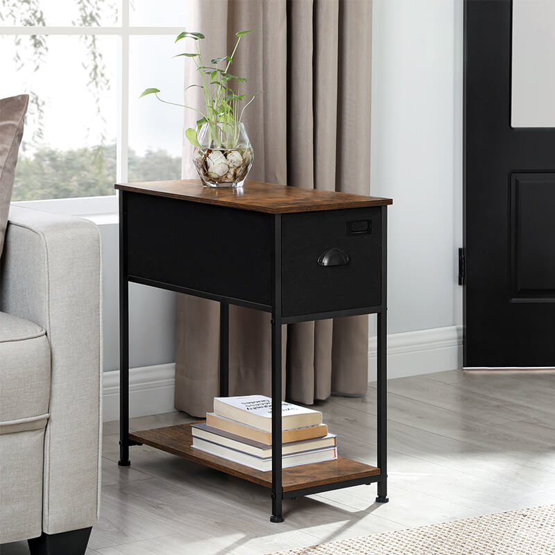 long side table with fabric drawer industrial end table with drawer side table for home lvt020b02