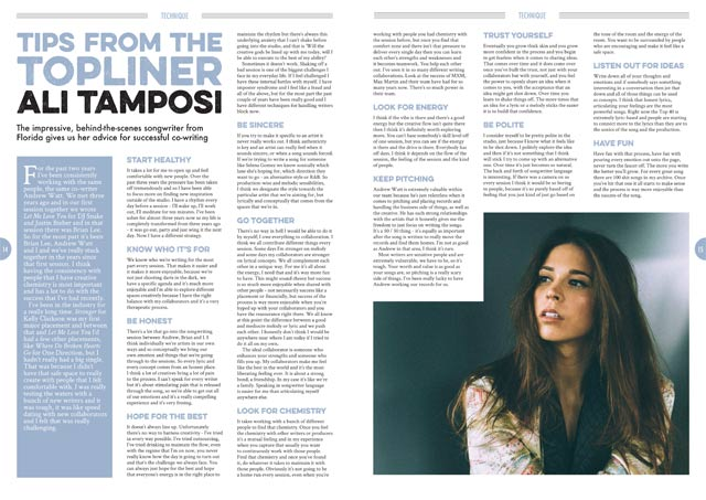 Ali Tamposi in Songwriting Magazine Summer 2018