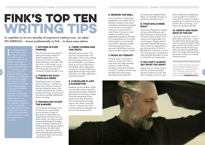 Fink's top 10 writing tips in Songwriting Magazine