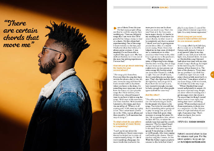 Kelvin Jones in Songwriting Magazine