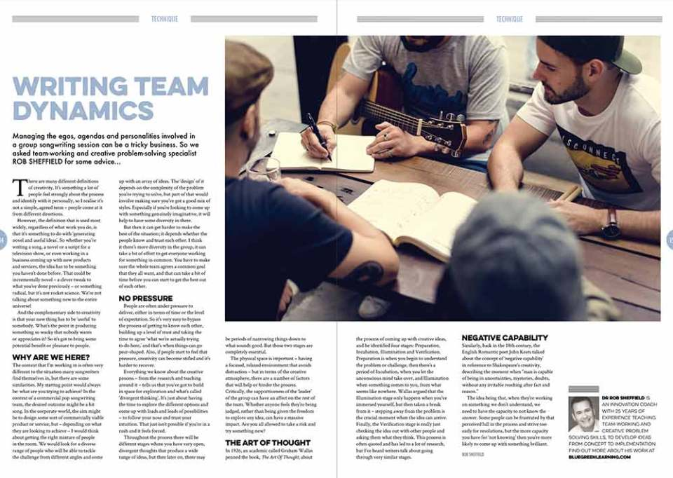 Technique article on 'Writing team dynamics' in Songwriting Magazine Winter 2017