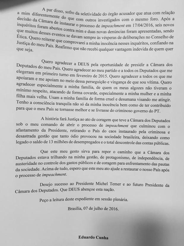 Carta de renúncia de Eduardo Cunha à presidência da Câmara (Foto: Reprodução)